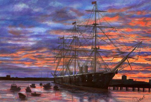 Sunset-on-Warrior historic ship Portsmouth art Pankhurst Gallery