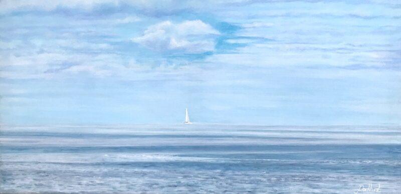 Tranquil Blue Yacht Seascape Art Gift Pankhurst Gallery