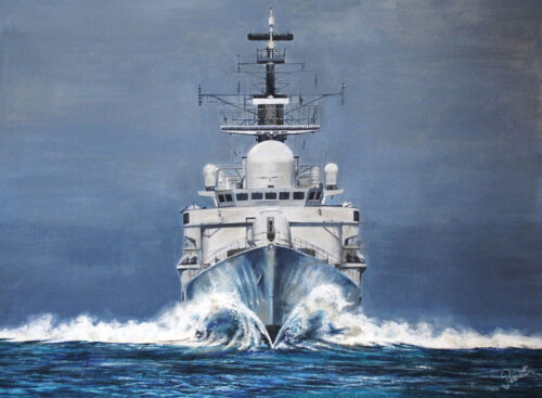 HMS-Cardiff-Paintings warship naval art Pankhurst Gallery