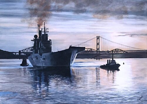 HMS Illustrious 'Quiet Readiness' warship naval art Pankhurst Gallery