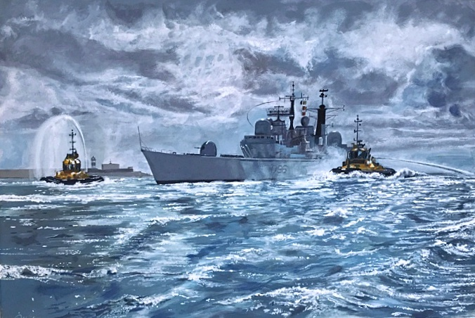 HMS Gloucester Final Homecoming warship naval art Pankhurst Gallery