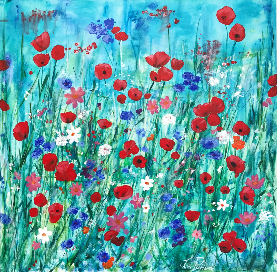 Scarlet Meadow Flower Art Pankhurst Gallery