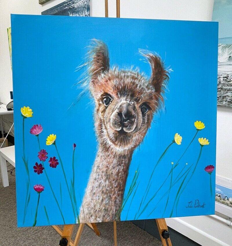 Dilbert Alpaca original acrylic painting Pankhurst Gallery