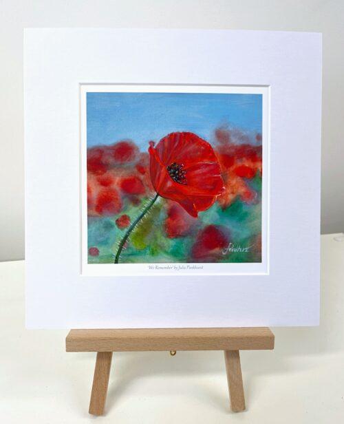 We Remember red poppy art gift print Pankhurst Gallery