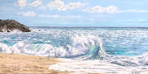 Along the Beach seascape painting Pankhurst Gallery