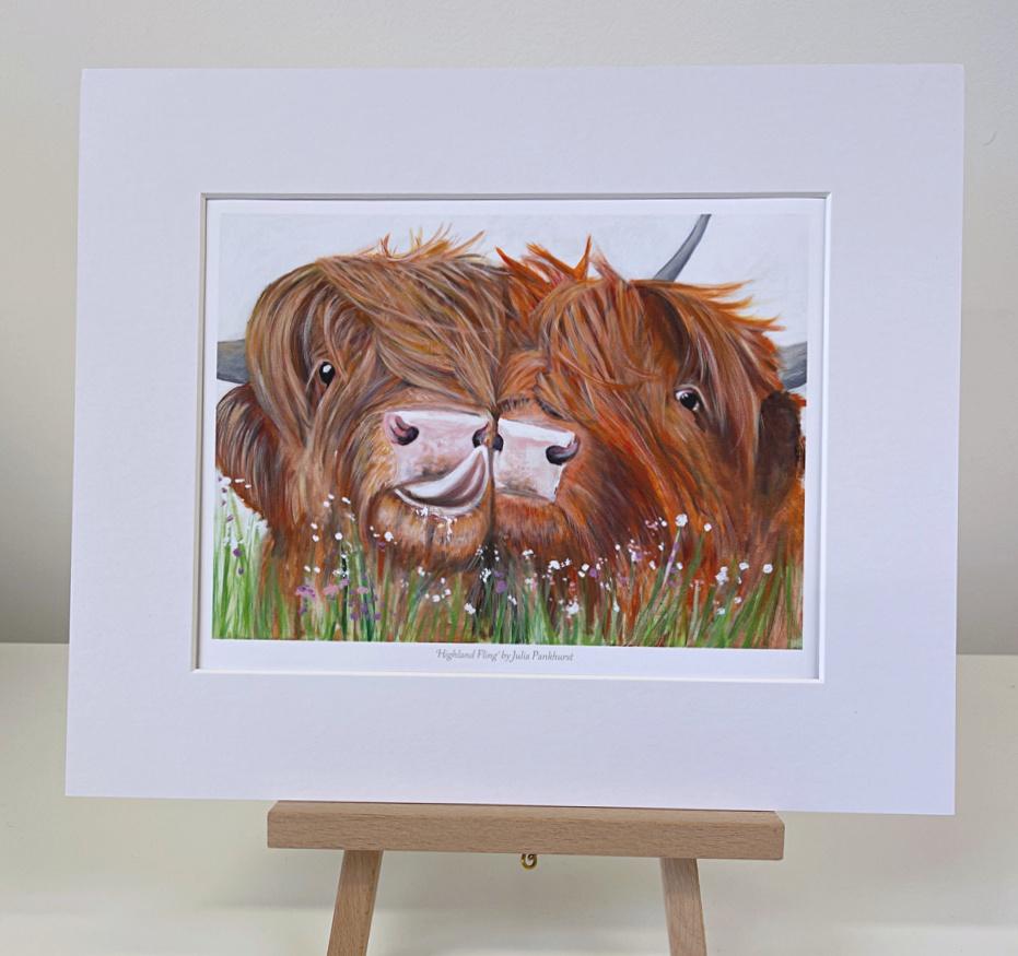 Highland fling Highland Cow mini Print Pankhurst Gallery