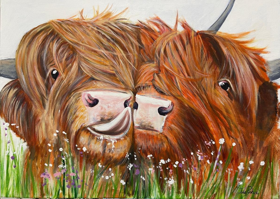 Highland Fling Highland Cow painting