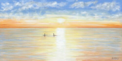 Paddle-Boarding seascape art gift print Pankhurst Gallery