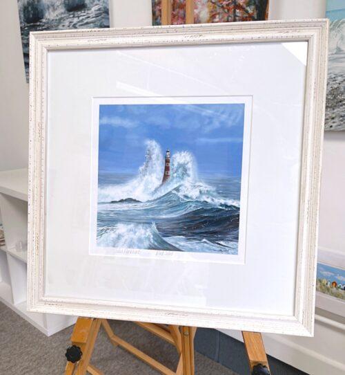 Rock Solid Crashing Waves Seascape Lighthouse Art Print Gift Pankhurst Gallery Frame Display
