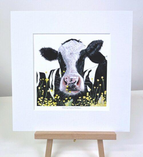 Buttercup Friesian Cow Painting mini art gift print Art Pankhurst Gallery