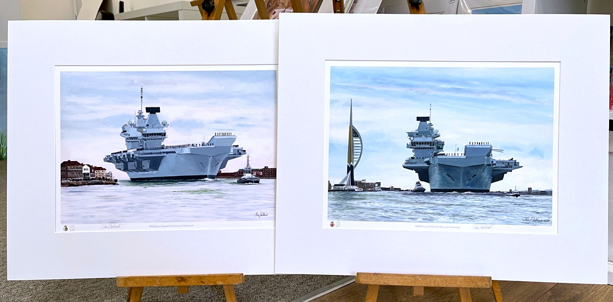COMMEMORATIVE TWIN SET OFFER HMS Queen Elizabeth HMS Prince of Wales warship naval art gift Pankhurst Gallery