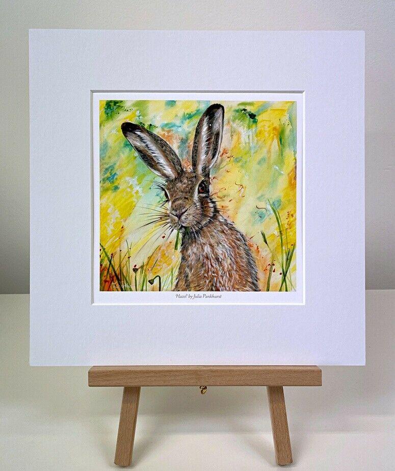 Hazel hare original painting mini print gift art Pankhurst Gallery