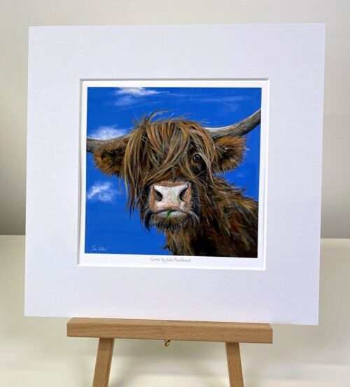 Gertie Highland Cow Painting mini print gift art Pankhurst Gallery