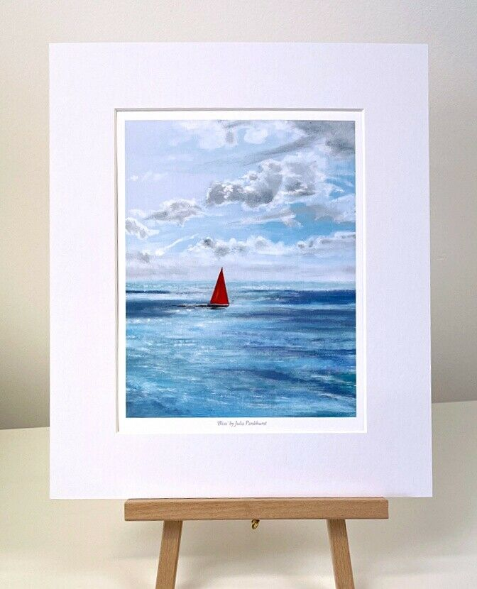 Bliss yacht sailing Seascape Art Mini print gift Pankhurst Gallery