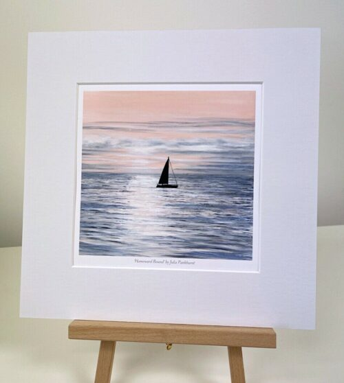 Homeward Bound yacht sailing Seascape Art Mini print gift Pankhurst Gallery