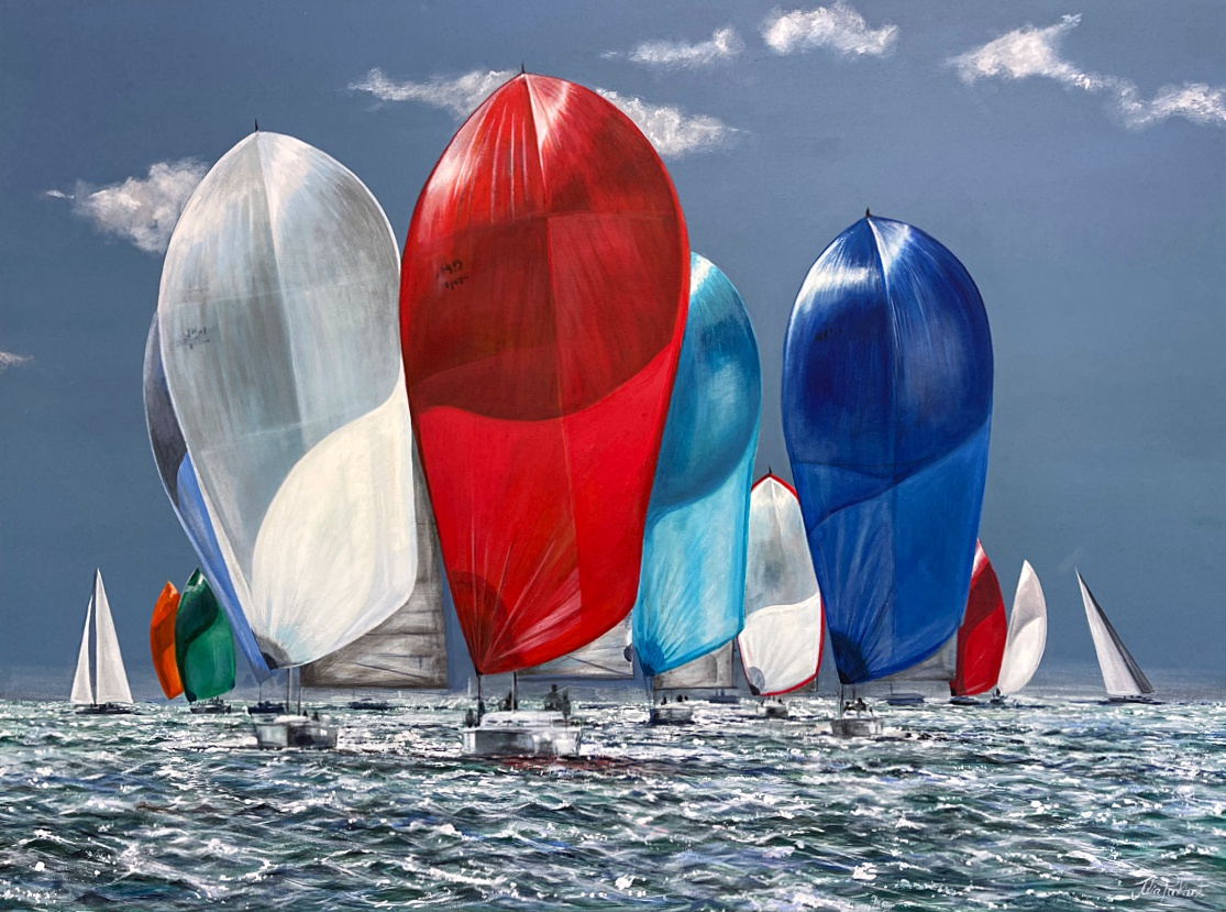 Windward seascape sailing yacht racing painting gift art Pankhurst Galllery