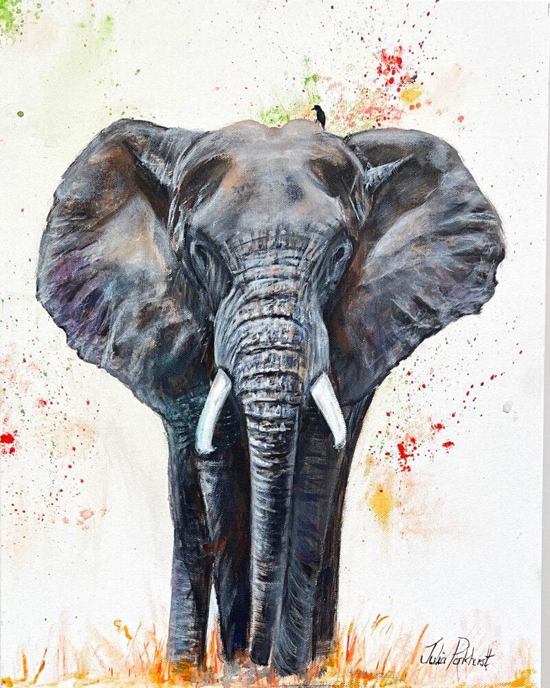 African elephant art original painting gift Pankhurst Gallery